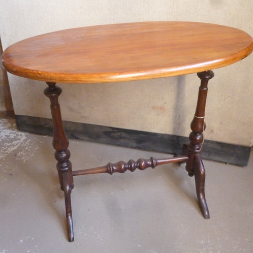 Late Vict oval blackwood and Kauri occasional table