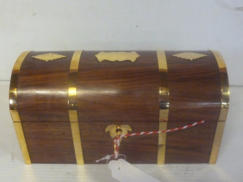 Handcrafted wooden pirate chest large inlaid with brass