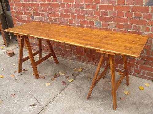 Baltic pine trestle table from a church hall