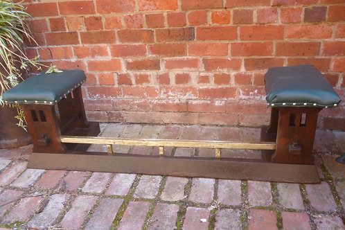 Arts and Crafts oak fire fender with seats