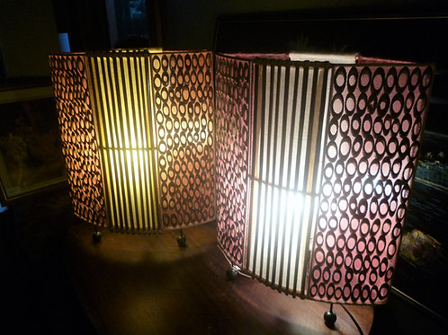 Pair of Retro bamboo table lamps