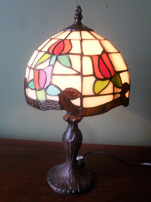 """8"""" rose reproduction leadlight table lamp"""