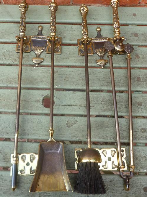 English cast brass 4 piece fire tidy set