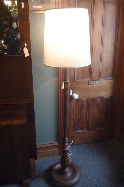 Vintage carved wooden standard lamp & shade