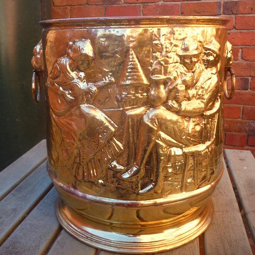 Edwardian large brass jardiniere