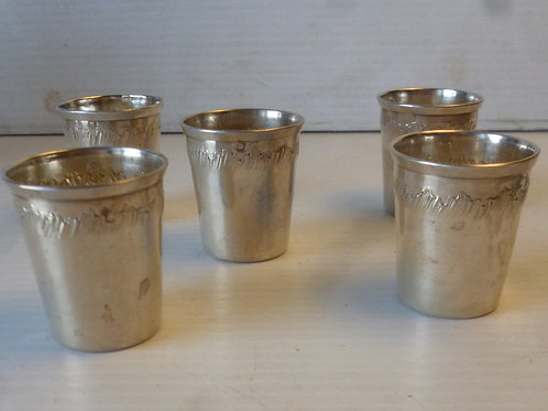set of five St Silver shot cups