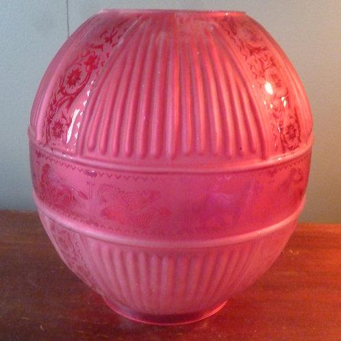 Reproduction Duplex oil lamp shade Zodiac ruby