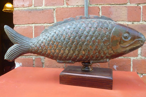 Antique Japanese carved wooden fish