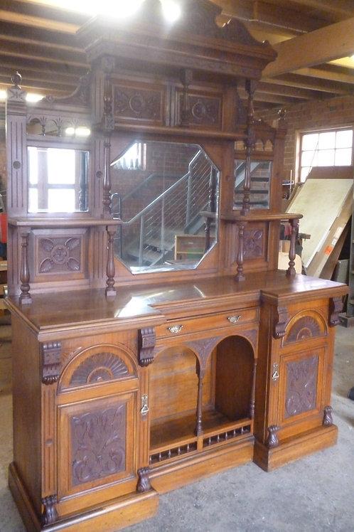 Large late Victorian walnut mirror back sideboard