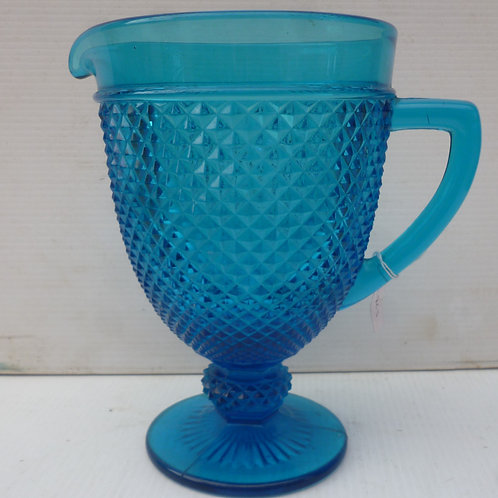 Edwardian pressed blue glass jug