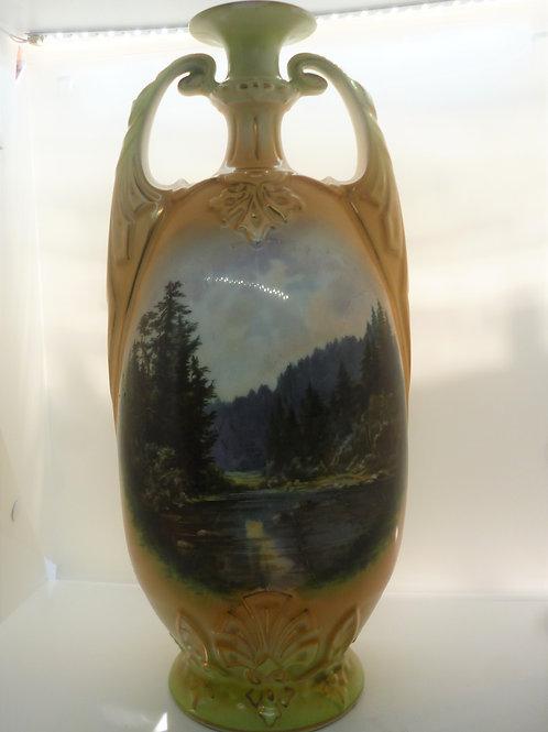 Austrian handpainted porcelain vase