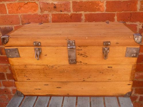 Restored old steel bound hardwood trunk