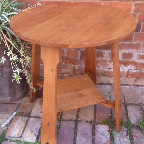 Arts and Crafts round oak occasional table
