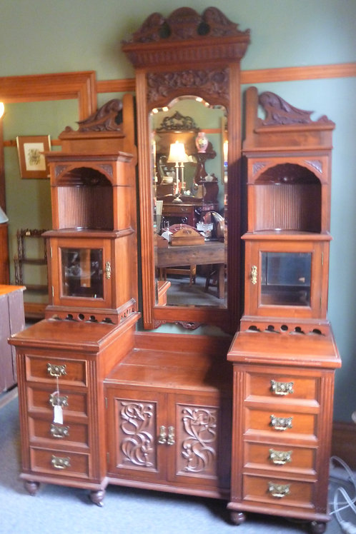 Large late Victorian walnut dressing table