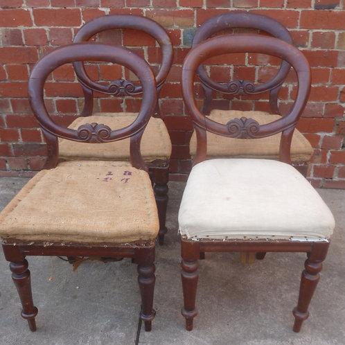 Set of four classic Australian cedar balloon back chairs