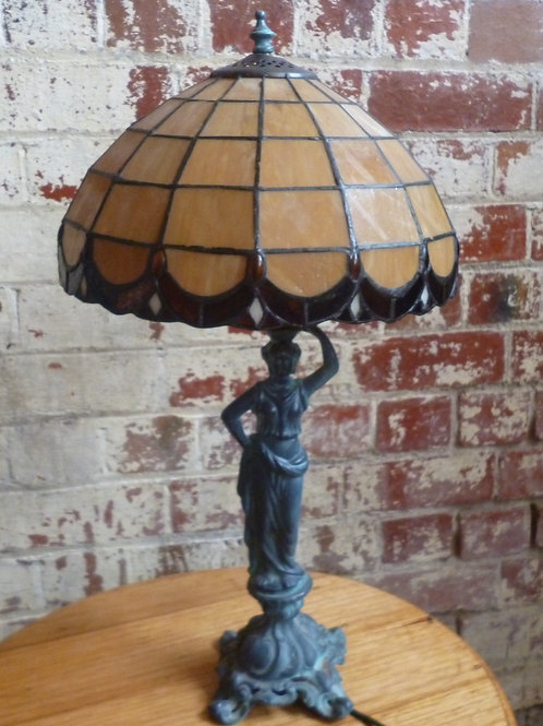 Old spelter metal leadlight table lamp