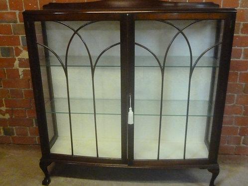 Antique mahogany English crystal cabinet
