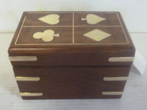 Handcrafted card box with 2 packs of cards inlaid with brass