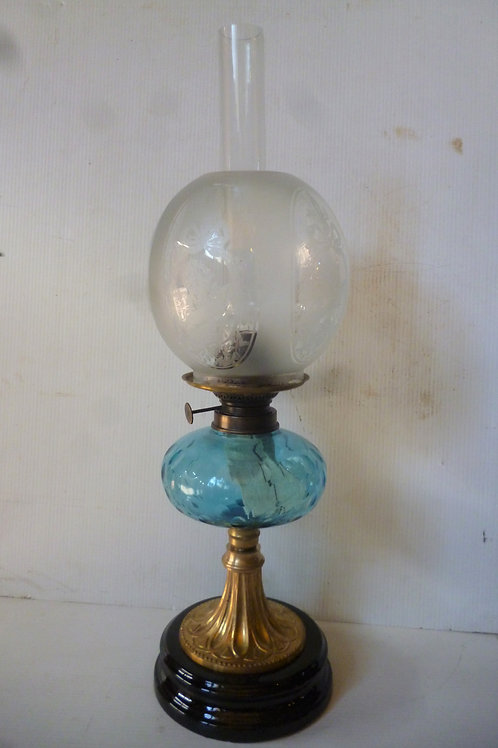 Reproduction banquet oil lamp blue