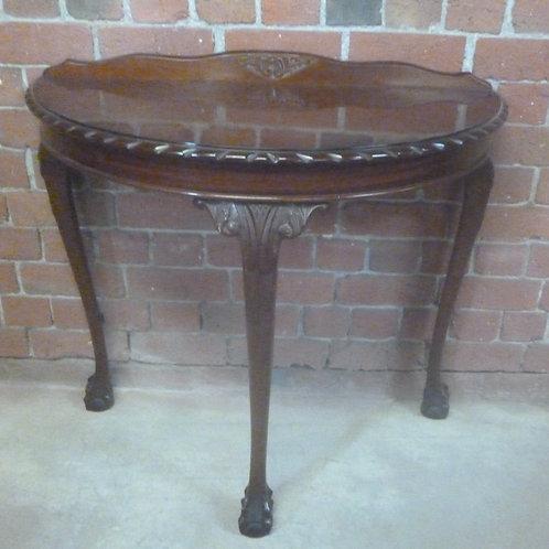 Half round mahogany hall table