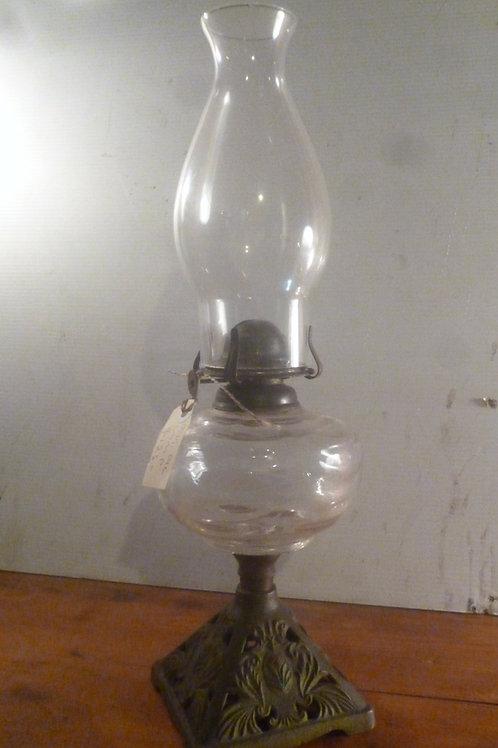 Original oil lamp cast iron base clear glass bowl