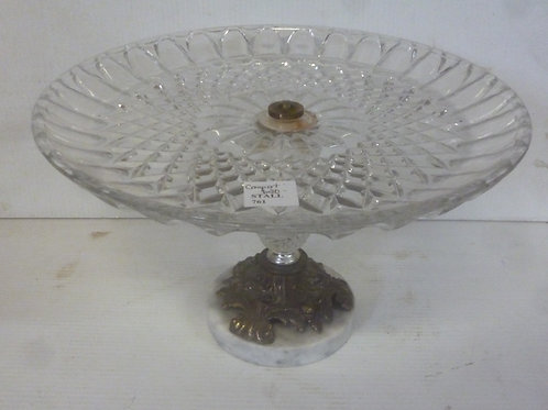 Vintage comport glass, metal and marble