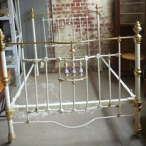 Queen size restored cast iron brass and porcelain bedstead