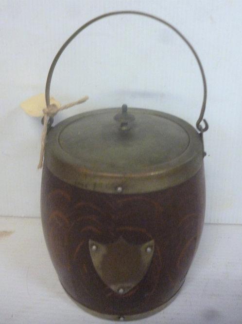 Edwardian oak biscuit barrel