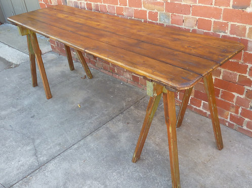 Restored old baltic trestle table