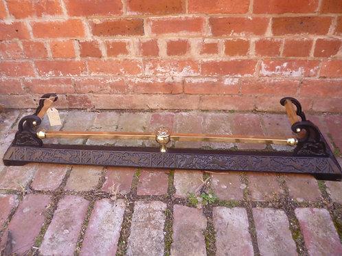 Victorian cast iron and brass fire fender