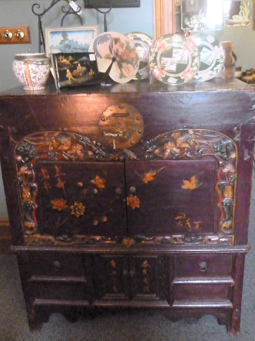 Antique hand painted Mongolian chest trunk