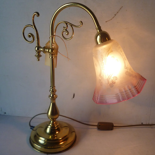 Retro brass table lamp with antique ruby etched glass shade