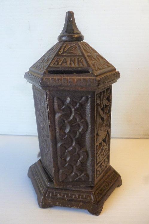 Victorian cast iron hexagonal money box