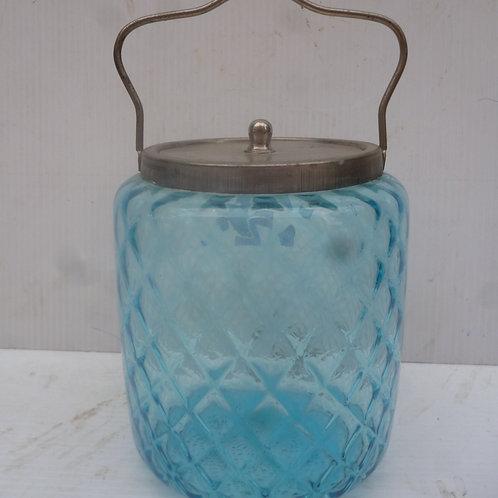Victorian blue glass biscuit barrel