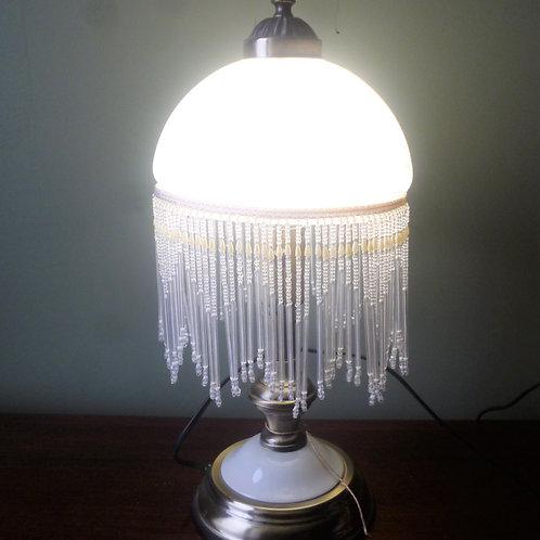 "8"" beaded reproduction leadlight table lamp"