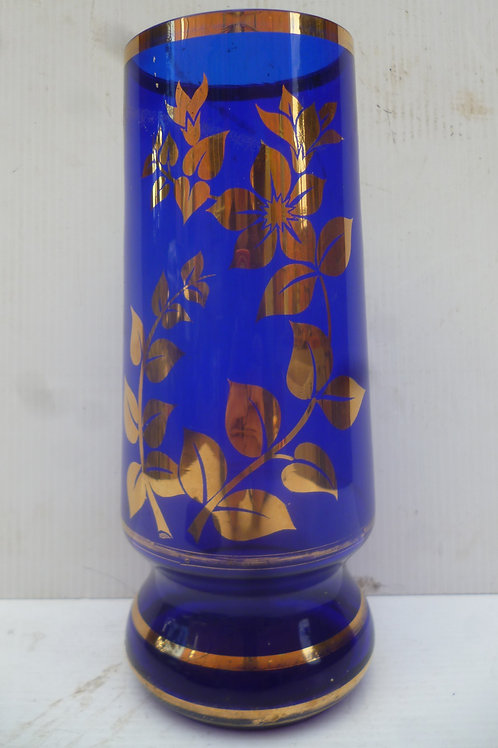 Victorian blue glass vase with gold enamel