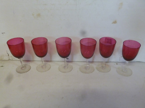 Set of six Victorian ruby wine glasses