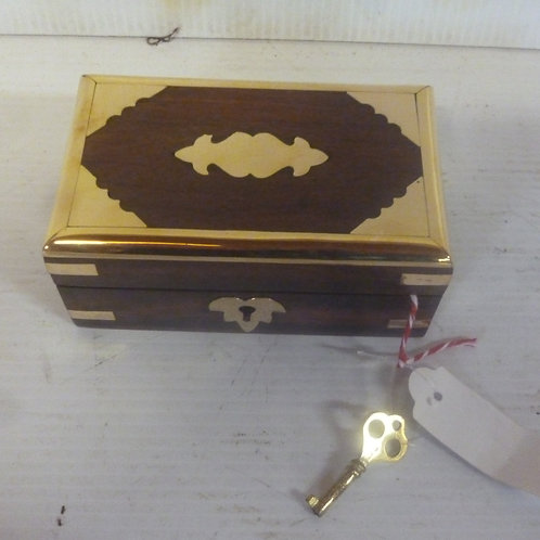 Handcrafted wooden jewellery chest small inlaid with brass