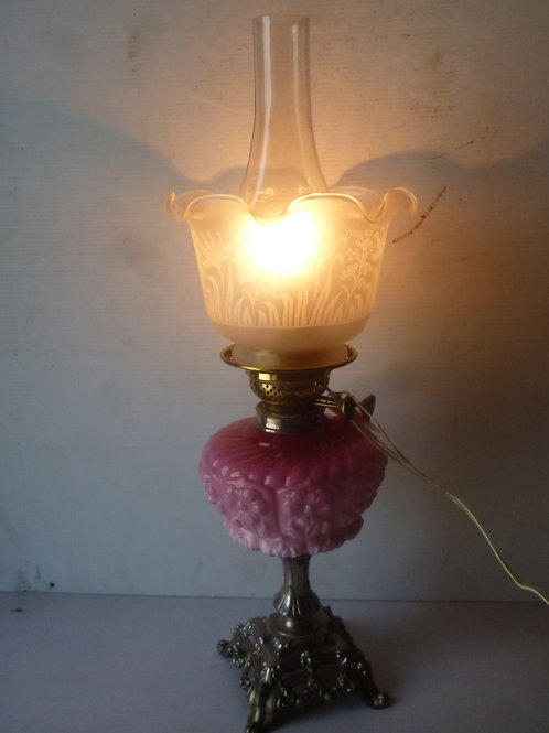 Victorian oil lamp rewired to be used as table lamp