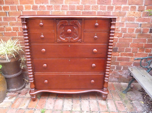 Early Australian cedar cotton reel chest of drawers