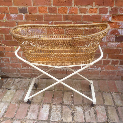 Restored cane and steel bassinet