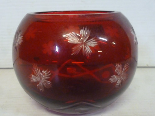 Victorian overlay glass bowl