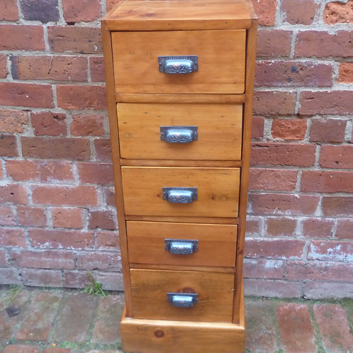 Tall narrow Pine 5 drawer chest