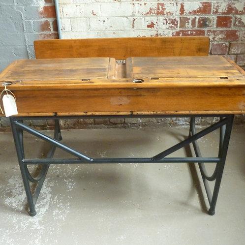 Vintage hardwood and steel school desk