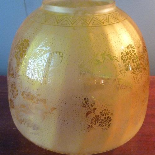 Reproduction Duplex oil lamp shade butterfly lemon