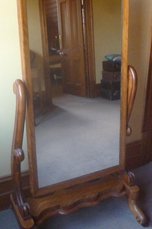 Victorian satinwood cheval mirror