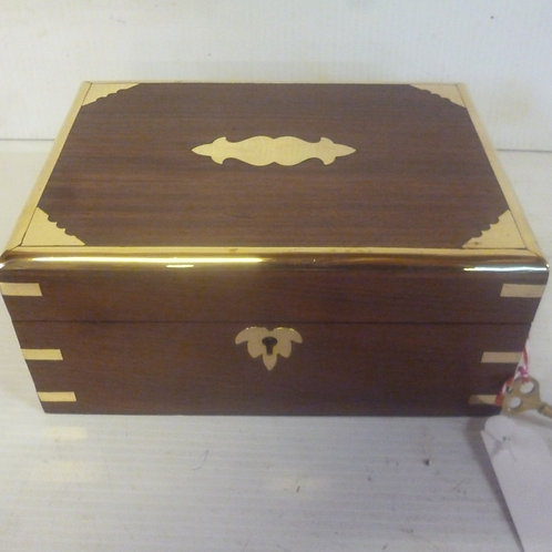 Handcrafted wooden jewellery chest large inlaid with brass