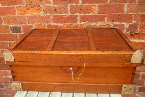 Antique brass bound pine tool chest