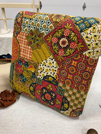 Funky Fabric to Farmhouse Chic Footstool