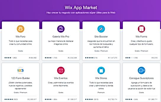 aplicaciones de wix